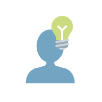 Ein blauer Schattenumriss einer Person, welcher eine grüne Glühbirne rechts über dem Kopf schwebt.