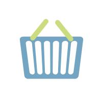 Ein blauer Warenkorb mit zwei grünen Klappgriffen