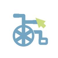Ein blauer Rollstuhl mit einem grünen Mauszeiger.
