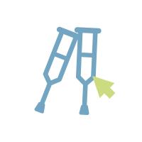 Zwei blaue Krücken, die aneinandergelehnt sind, mit einem grünen Mauszeiger.