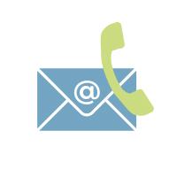 Ein blauer, elektronischer Brief hinter einem grünen Telefonhörer.